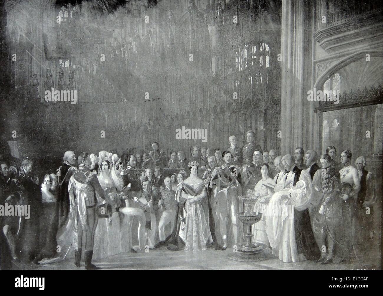 Ilustración mostrando el bautizo del Príncipe de Gales, en la capilla de San Jorge, en Windsor. Fecha 1842 Imagen De Stock
