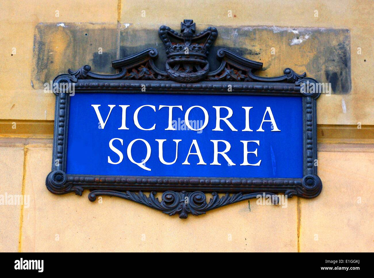 Signo de la calle Victoria Square, Birmingham, Inglaterra. Imagen De Stock