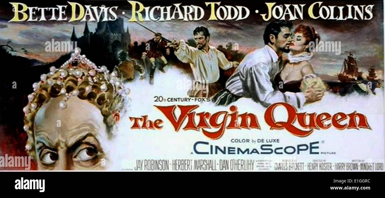 """""""La Reina Virgen"""" un drama histórico de 1955, protagonizada por Bette Davis, Richard Todd y Joan Collins. Imagen De Stock"""