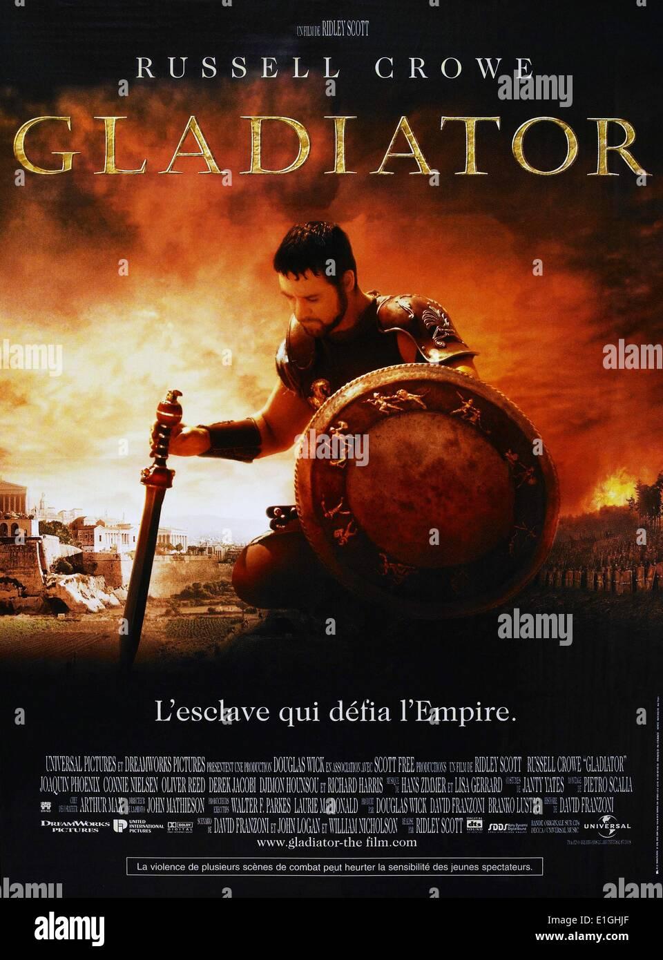 """""""Gladiator"""" un drama histórico épico anglo-estadounidense que propone 2000 película protagonizada por Russell Crowe, Joaquin Phoenix, Connie Nielsen, Ralf Imagen De Stock"""