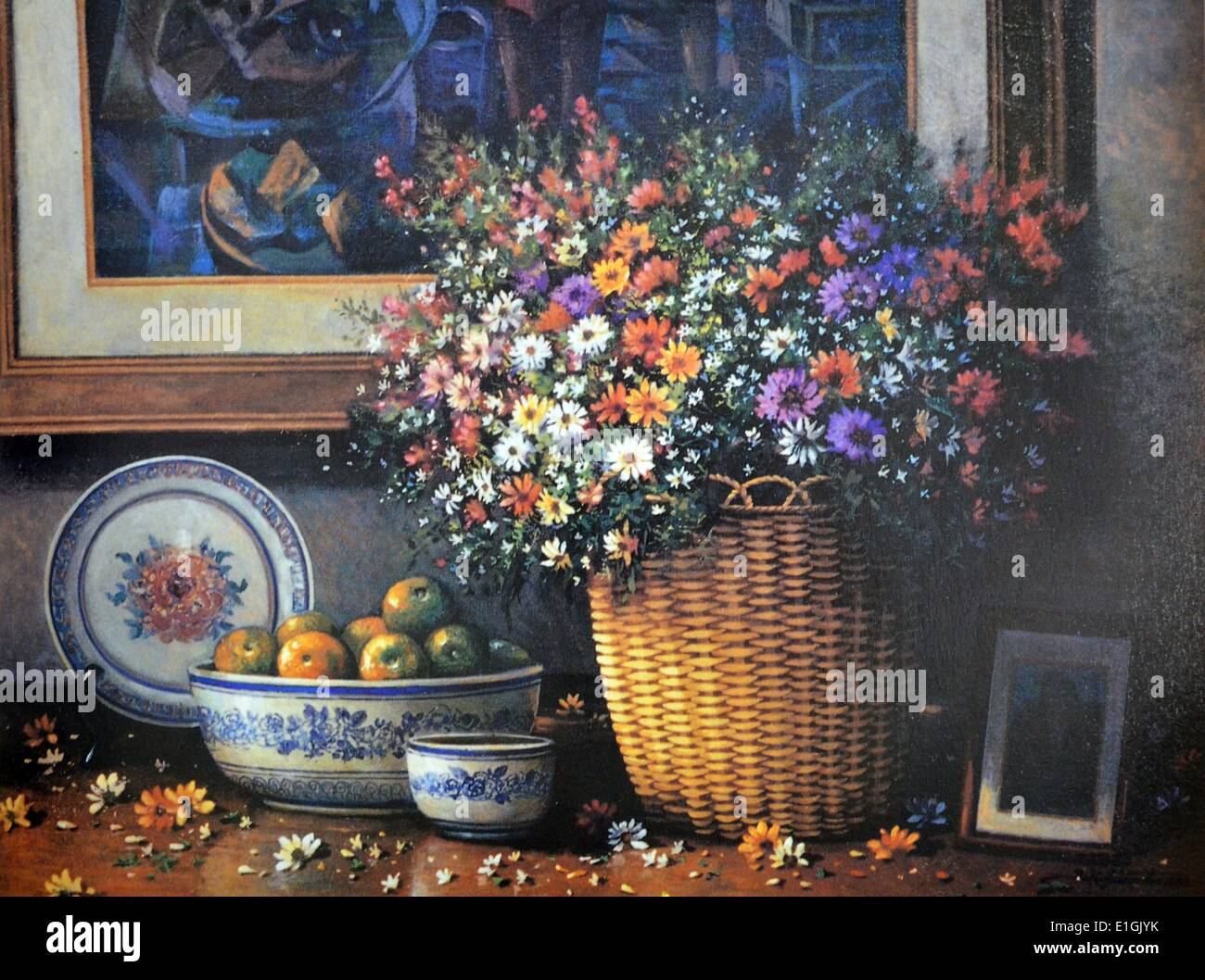 Roland Dellos Santos, Bodegón con naranjas, 1995. Óleo sobre lienzo. Imagen De Stock