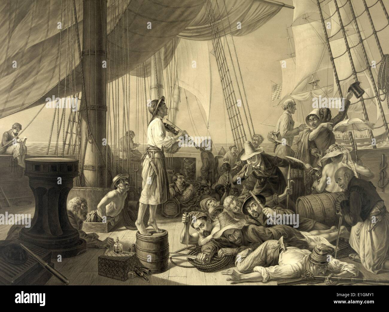 """Impresión en blanco y negro representando los piratas"""" que atraen a un merchantman ruse en los días de antaño. Fecha 1896 Imagen De Stock"""