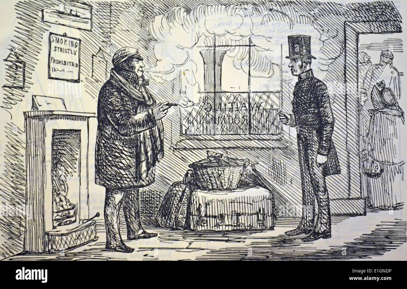 El fumador determinado ante un oficial de la estación de ferrocarril en la sala de espera. Dibujos animados de anti Foto de stock