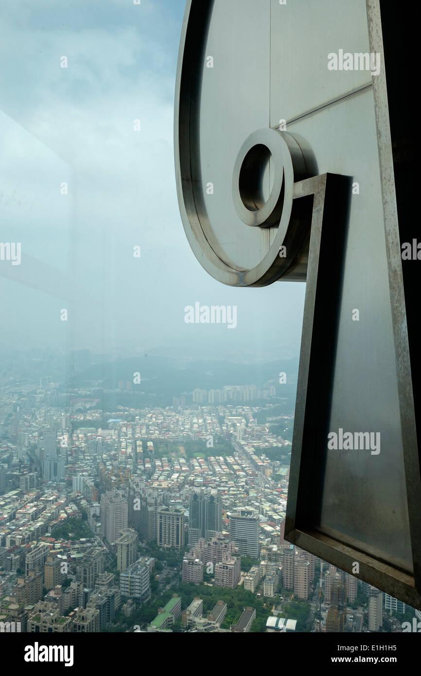 Las vistas desde el edificio Taipei 101, Centro Financiero Mundial, Taipei, Taiwán. Imagen De Stock
