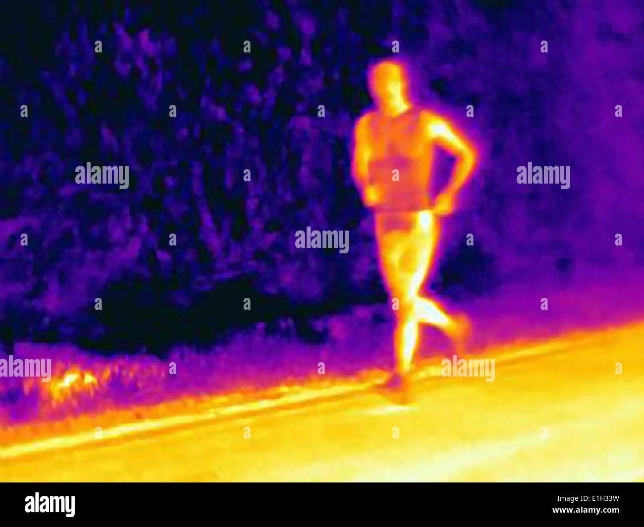 Vista frontal de la fotografía térmica del joven atleta masculino en ejecución. La imagen muestra el calor de los músculos Imagen De Stock