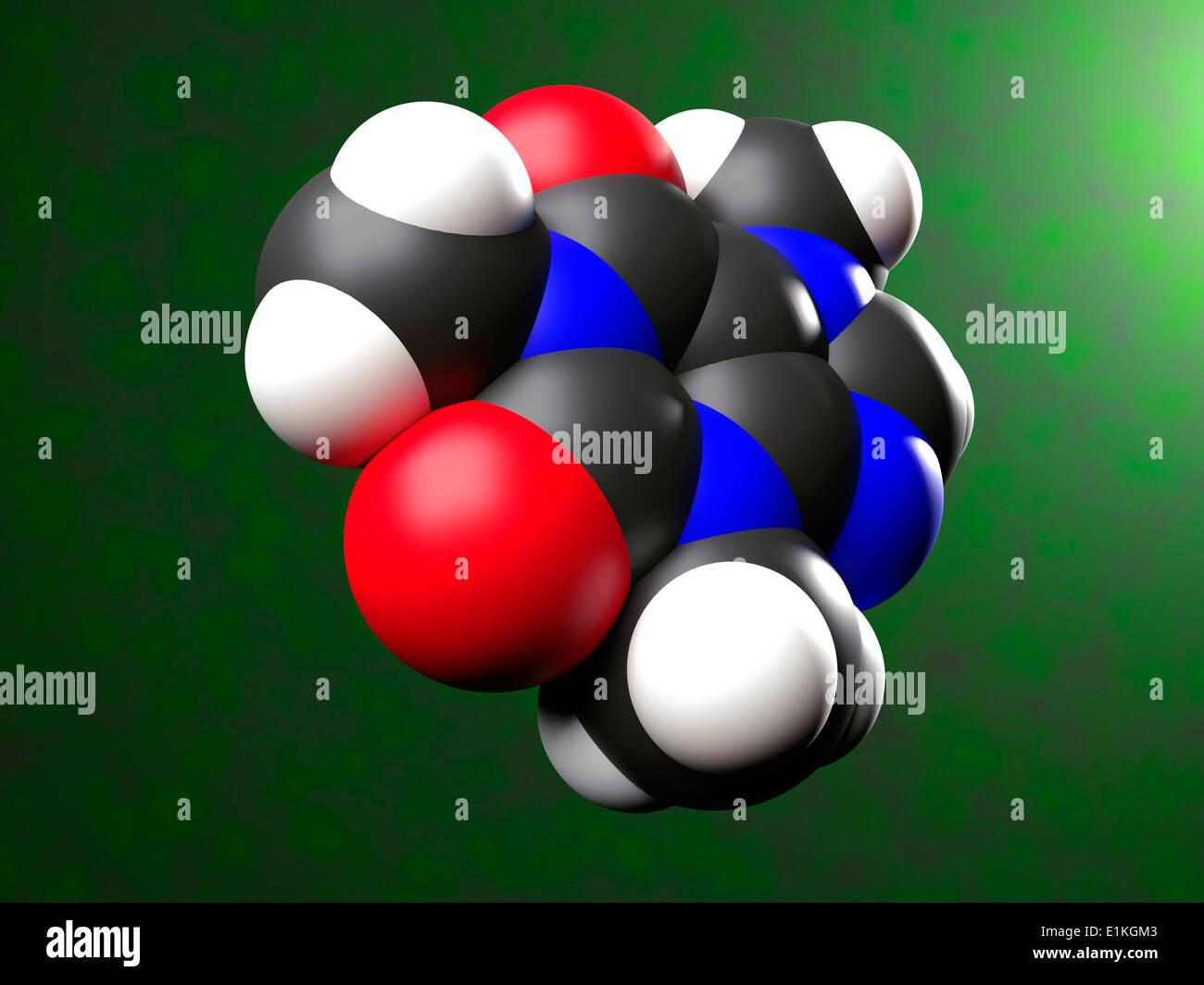 Molécula de cafeína equipo ilustración que muestra la