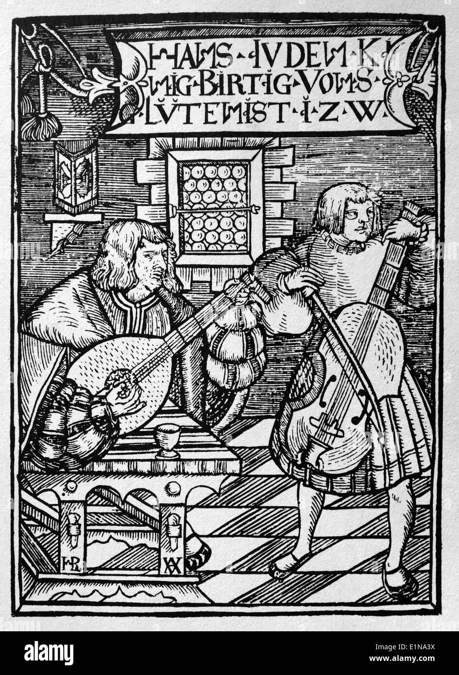 Renacimiento. Siglo 16. Los músicos tocando el laúd y cello. Concierto. Grabado. Imagen De Stock