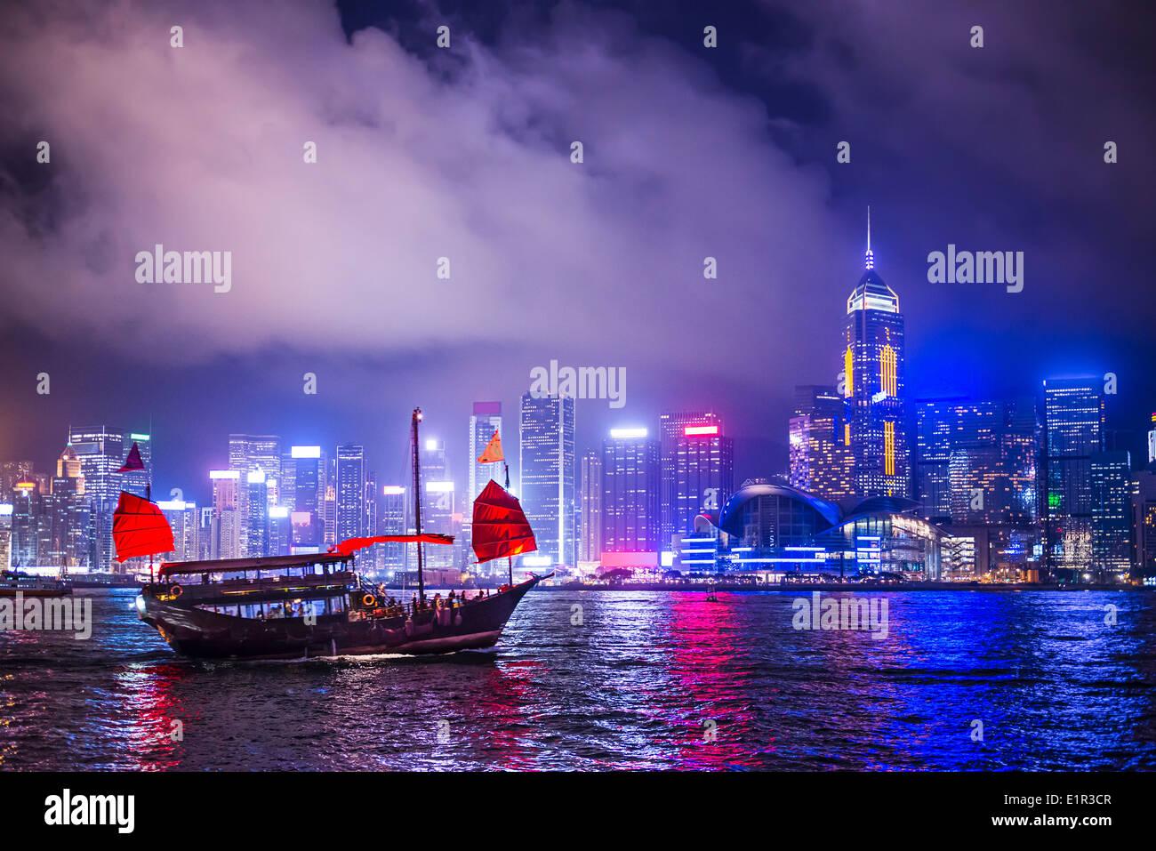 Hong Kong, China en el puerto de Victoria. Imagen De Stock