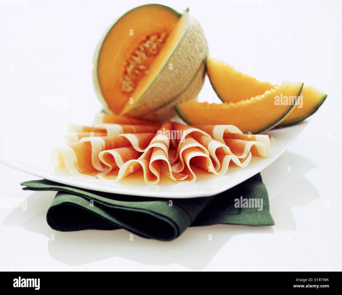 Melón y jamón de Parma Imagen De Stock