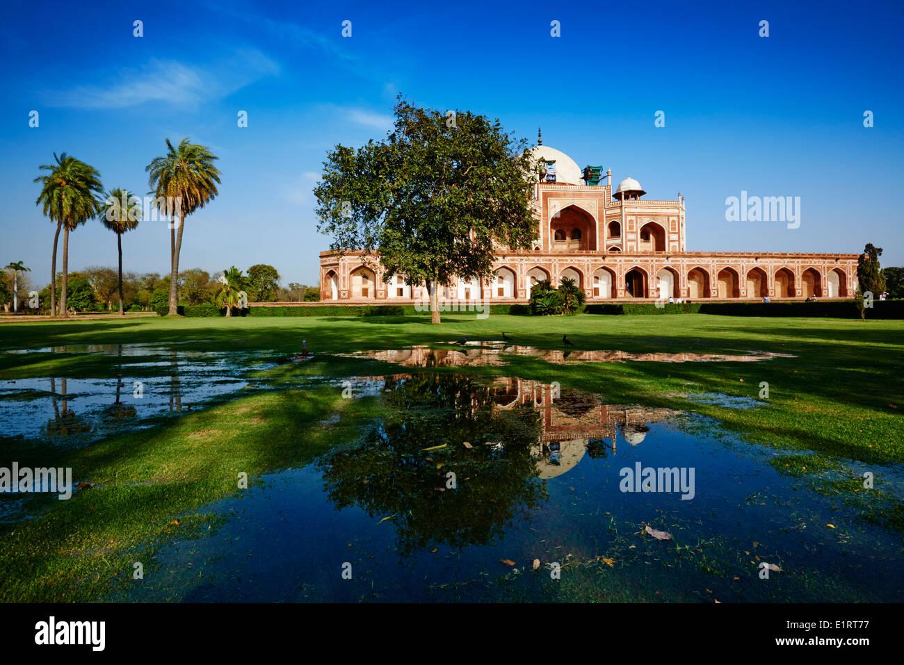 La India, Delhi, el Mausoleo de Humayun, patrimonio mundial de la Unesco Foto de stock