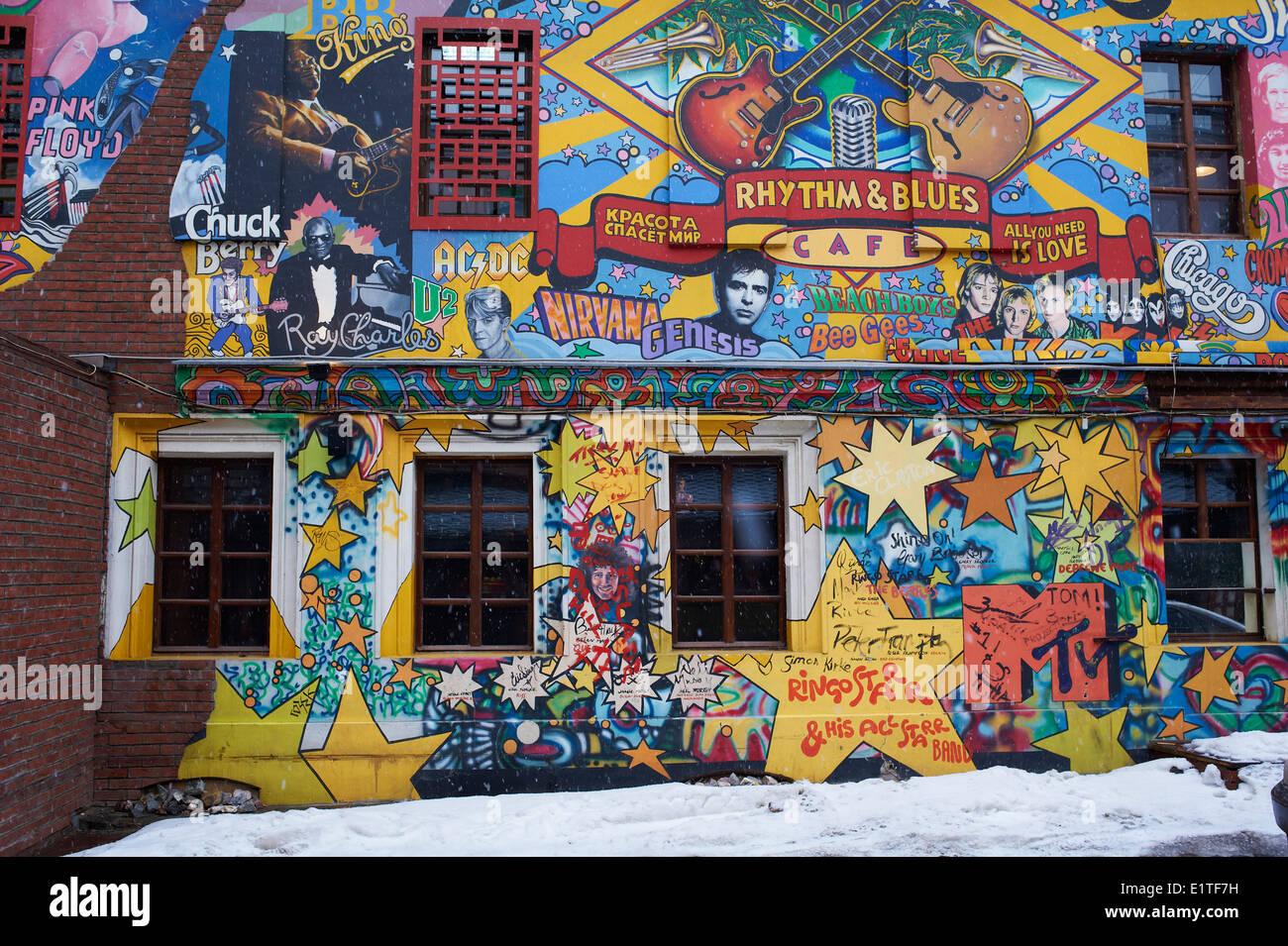 Rusia, Moscú, Rhythm & Blues café con pared de pintura Imagen De Stock