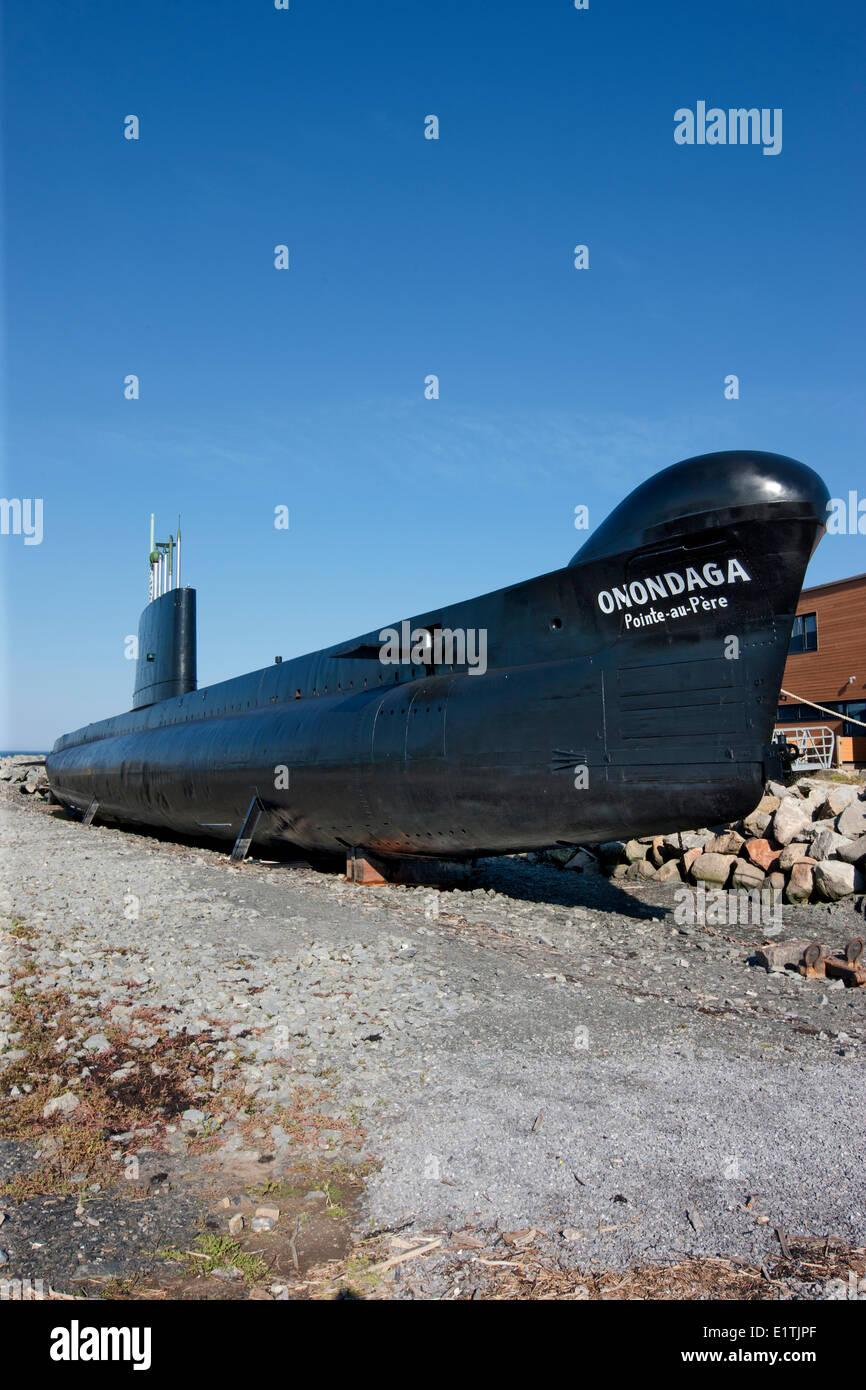 Onondaga submarino, Pointe-au-Père sitio histórico marítimo, Quebec, Canadá Imagen De Stock