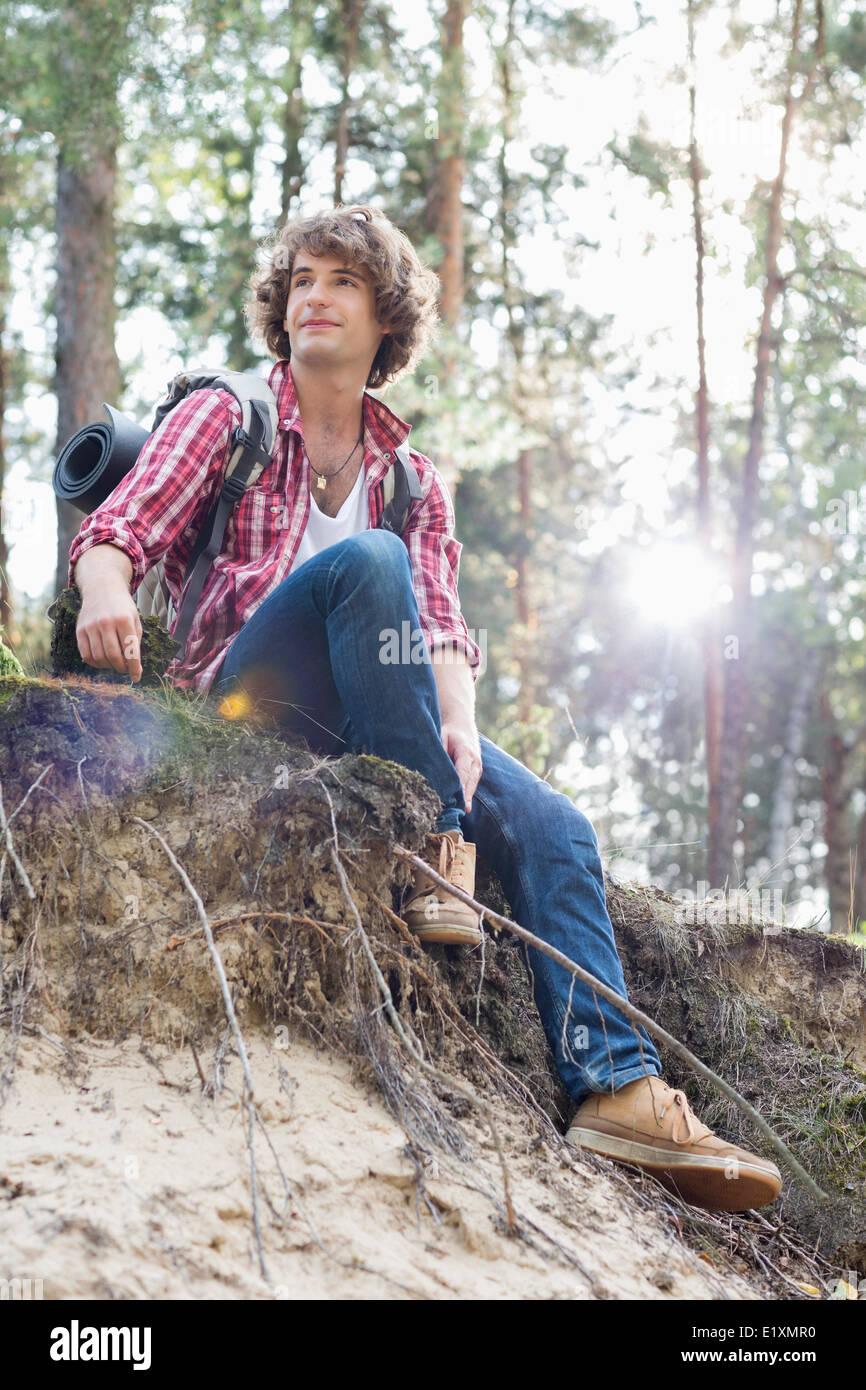 La longitud total del caminante en busca macho lejos mientras está sentado sobre un acantilado en el bosque Imagen De Stock