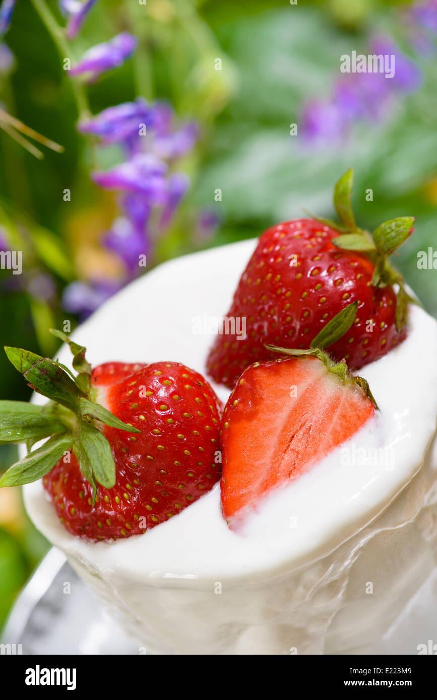 Delicioso batido de fresa Foto de stock