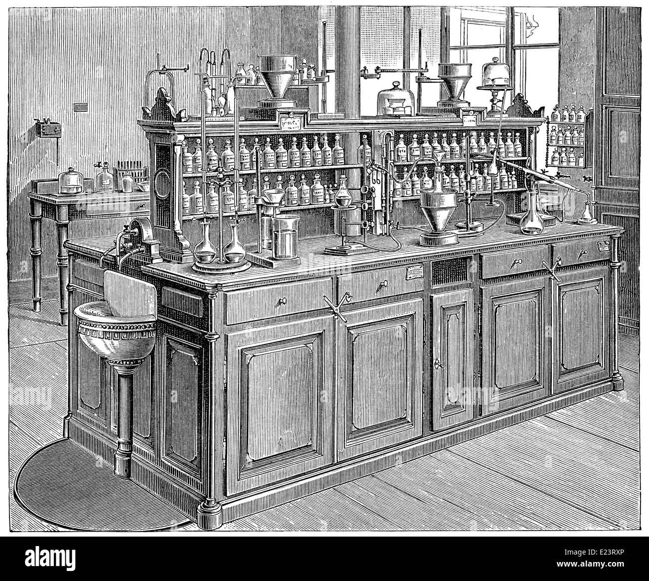 Laboratorio Químico, de 1886, de la Universidad de Leipzig, Alemania Imagen De Stock