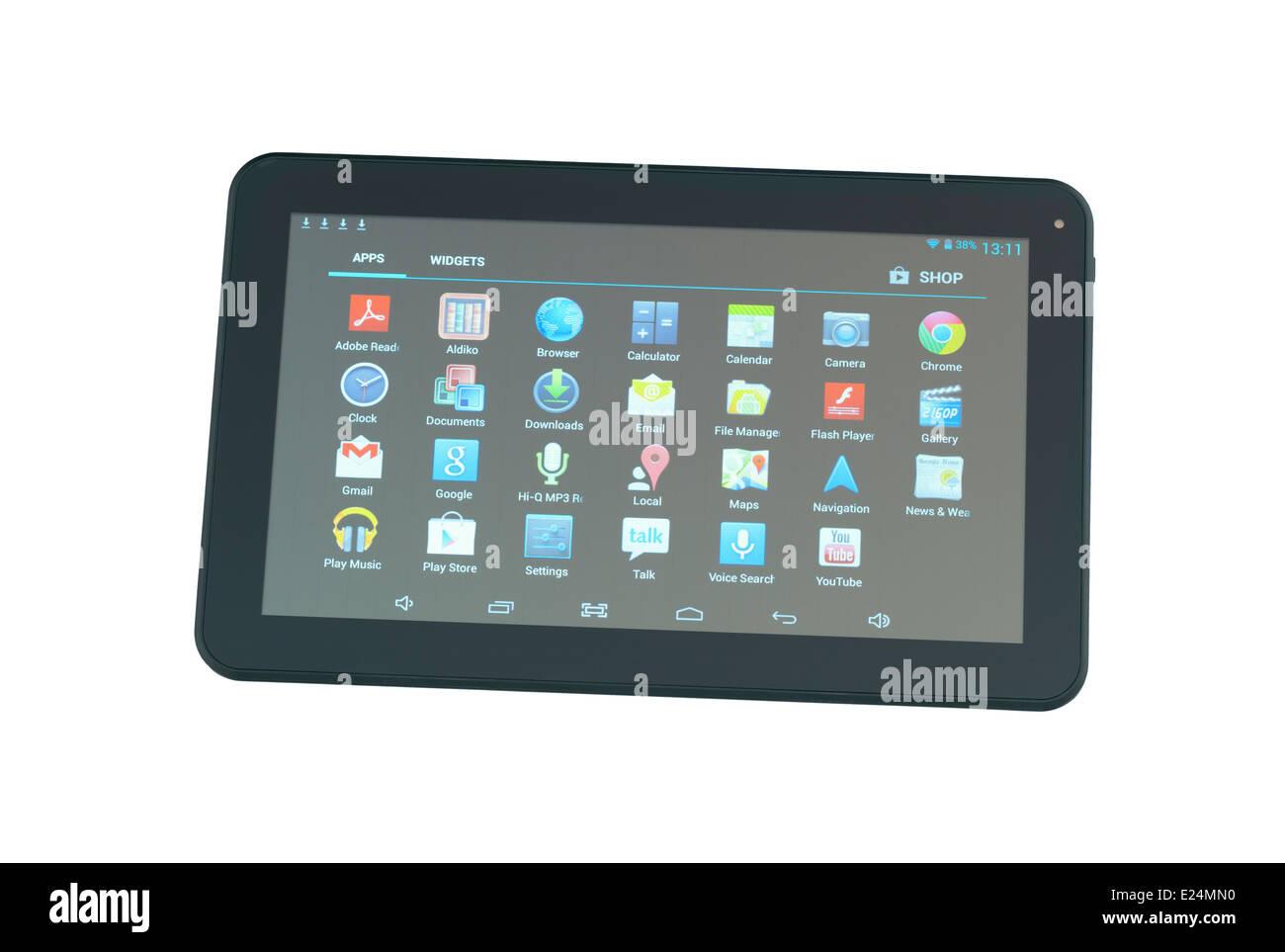 La tableta sobre fondo blanco. Imagen De Stock