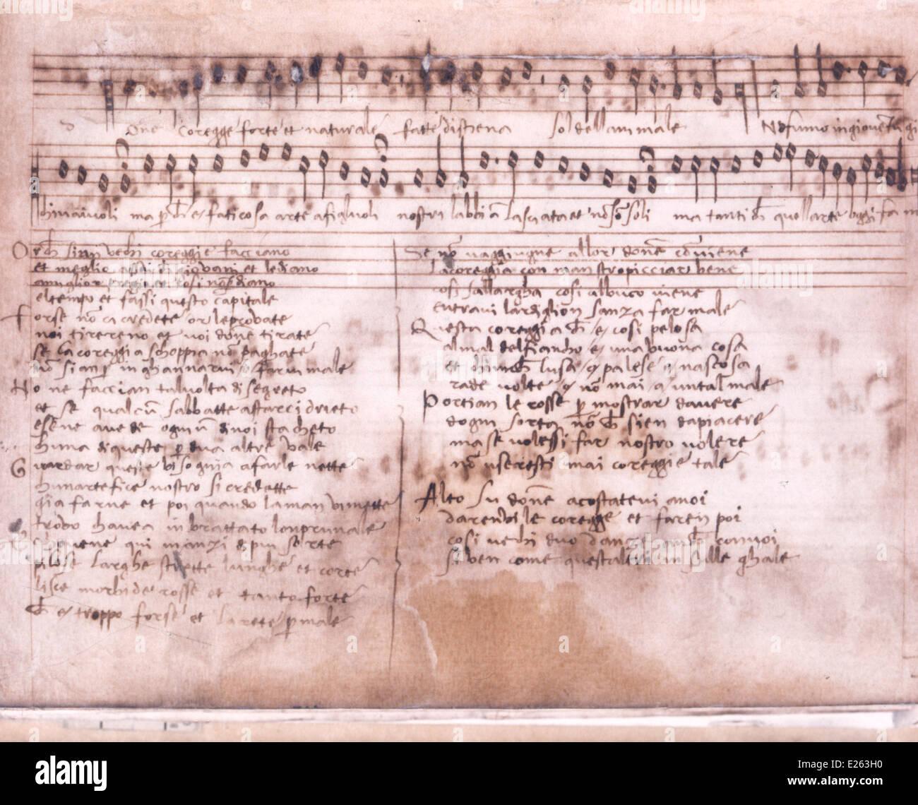 Musica historia,Página de música del siglo XVI,Conservatorio Santa Cecilia,Roma Imagen De Stock
