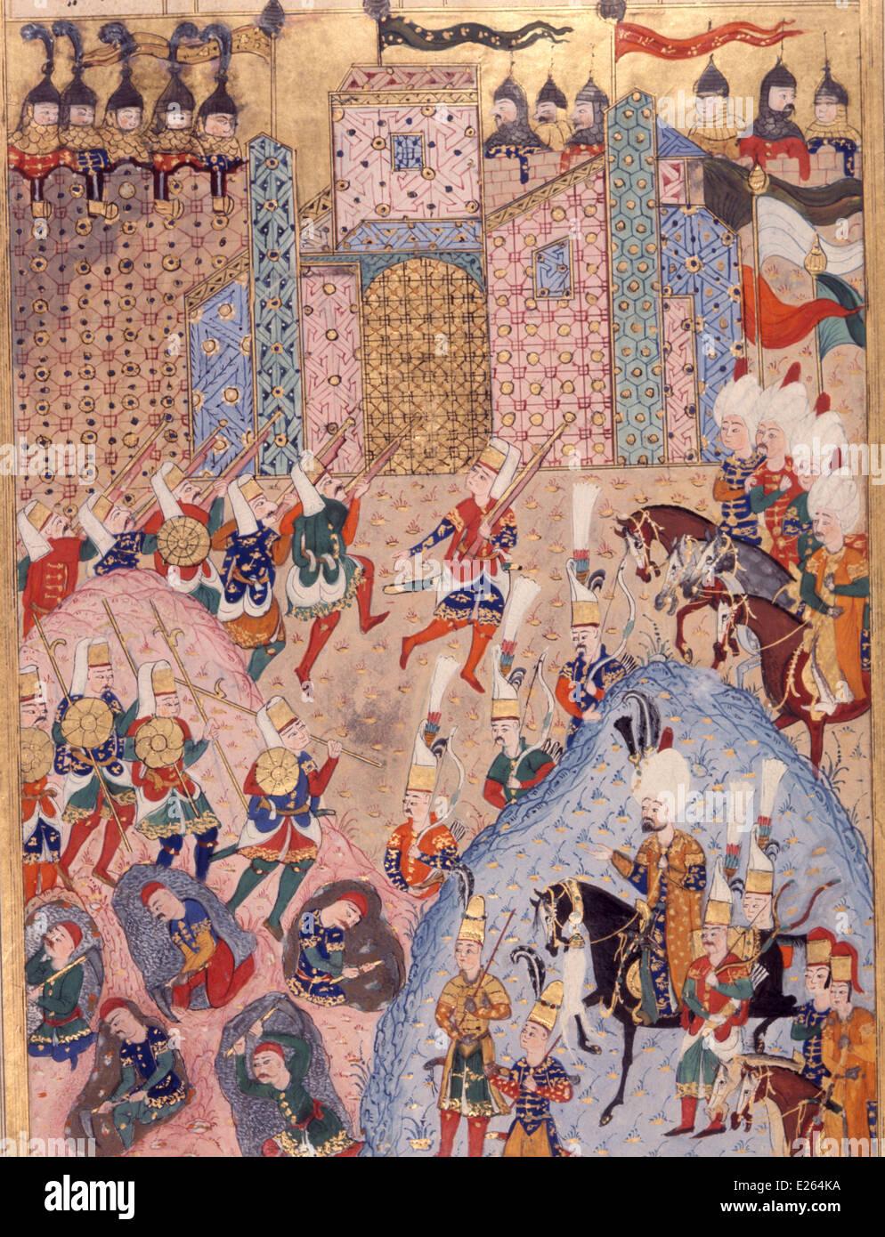 Historia otomano, Solimán el Magnífico asalto una ciudad miniatura,del siglo XVI,Estambul,topkapi Imagen De Stock