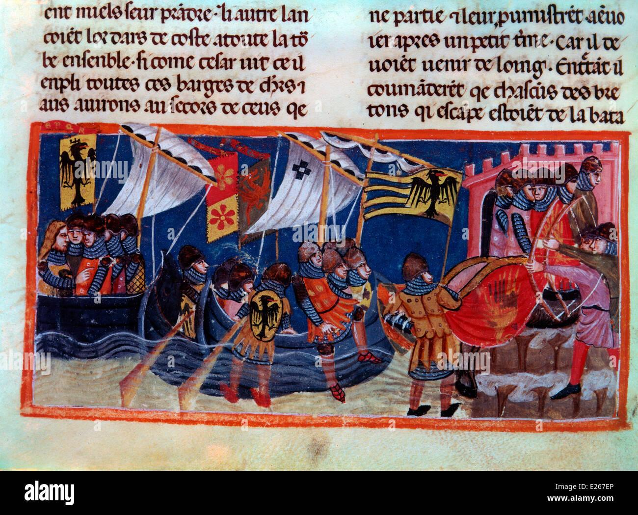 Carlomagno y sus paladines,francés del siglo XIII en miniatura,Venecia,Biblioteca Nazionale Marciana Imagen De Stock