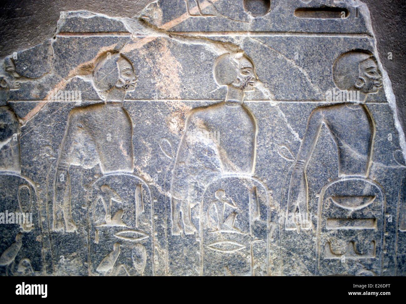La historia egipcia,luxor,la representación de negros de Africa,sobre el Pilón del Templo de Amenofis Imagen De Stock