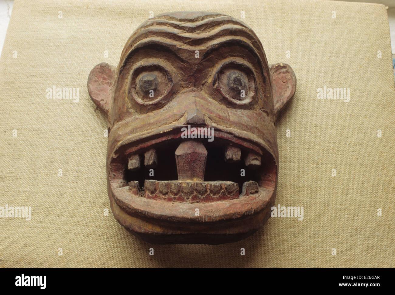 Bhután,máscara de madera del siglo xix, colección privada. Foto de stock