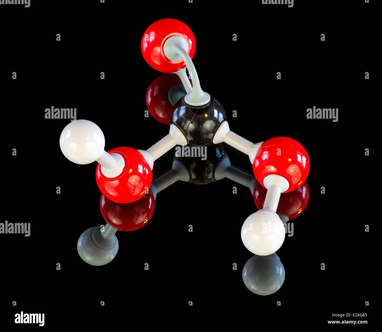 El ácido carbónico modelo para la clase de química Imagen De Stock