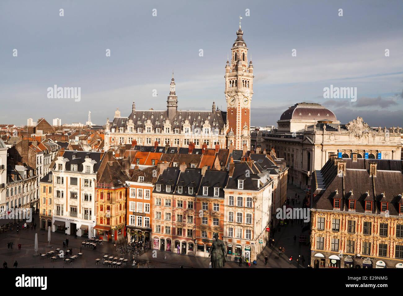 Francia, Nord, Lille, Place du Général de Gaulle (el General De Gaulle square) o la Grand Place, con el Imagen De Stock