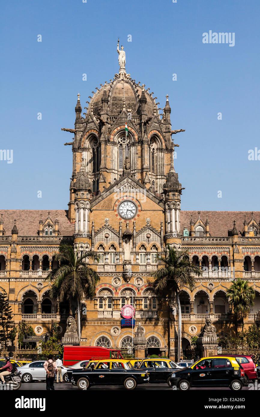 Estado de Maharashtra, India, Mumbai, la estación de tren de Chhatrapati Shivaji (Victoria Terminus), catalogado Imagen De Stock