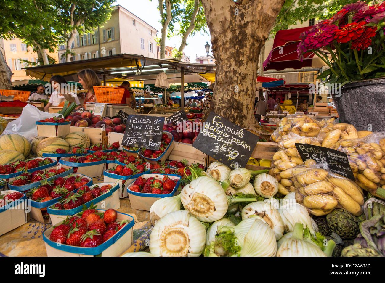 Francia, Bouches du Rhône, Aix en Provence, Market Place Richelme Imagen De Stock