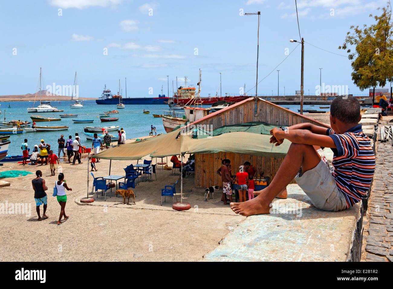 Cabo Verde, Sal, Palmeira, fishmarket Imagen De Stock