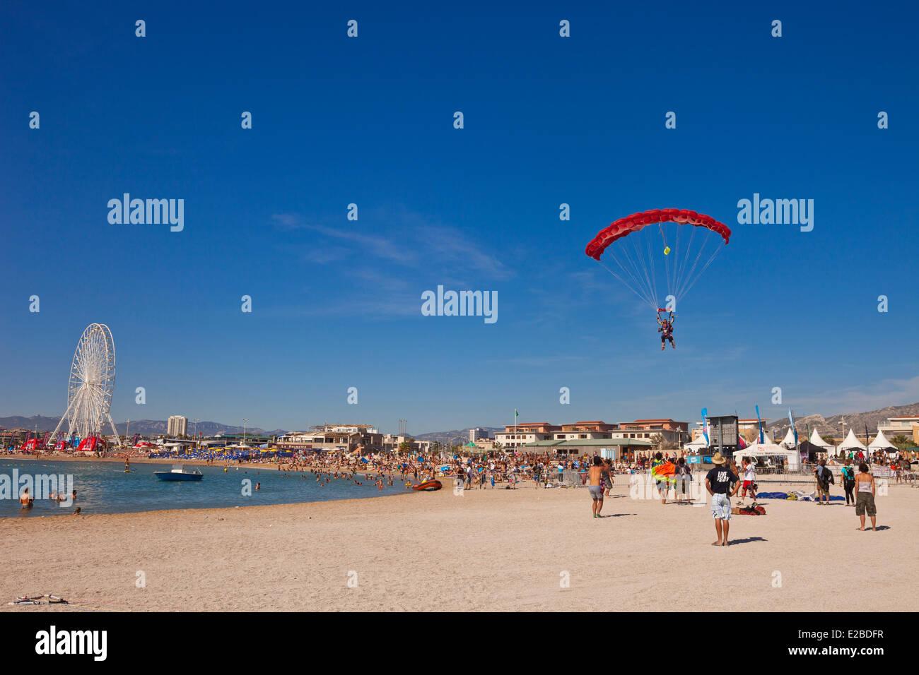 Francia, Bouches du Rhône, Marseille Bonneveine Prado, playas, playa durante la Copa Naranja Festival, primer Imagen De Stock