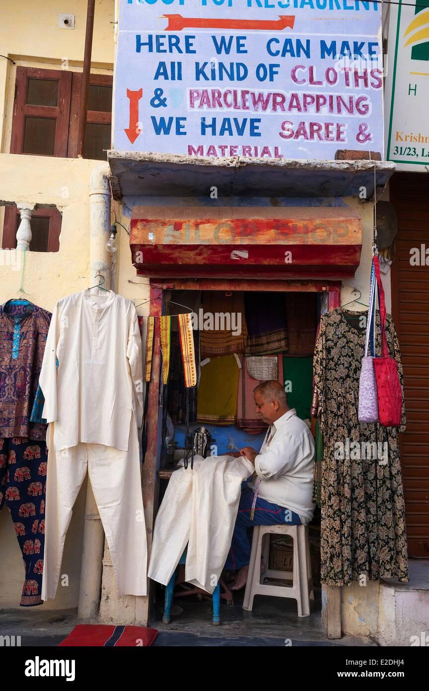 El estado de Rajasthan India Udaipur sastrería pequeños Imagen De Stock