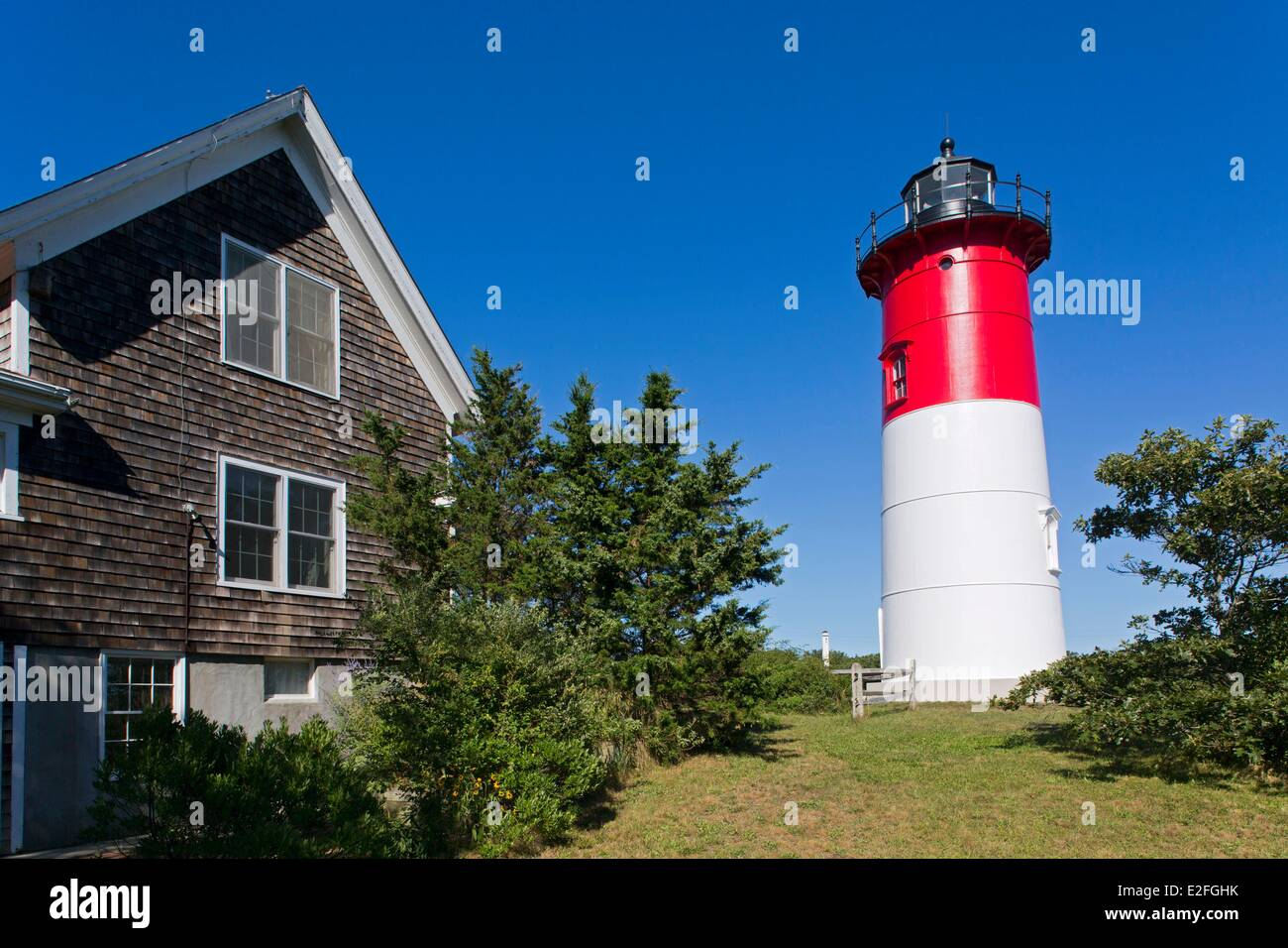 Estados Unidos, Massachusetts, en Cape Cod, Eastham, Nauset Light Beach, el faro Imagen De Stock