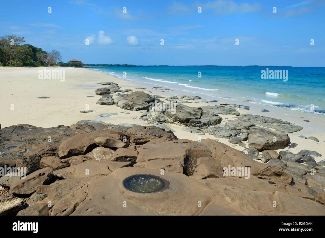 Panamá Islas Pearl Isla Viveros, playa de arena blanca Foto de stock