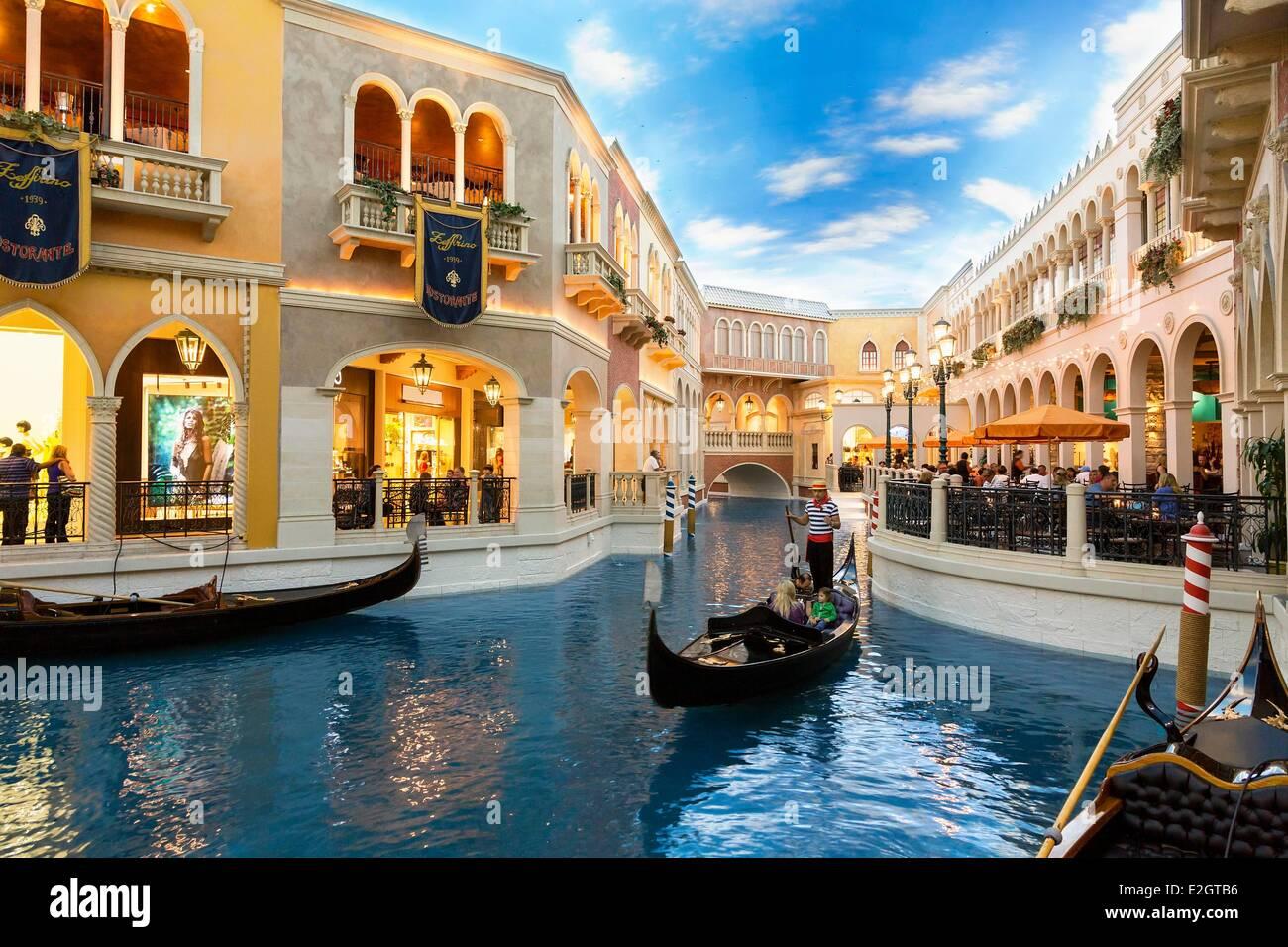Estados Unidos Nevada Las Vegas en góndola en el Venetian Hotel Imagen De Stock