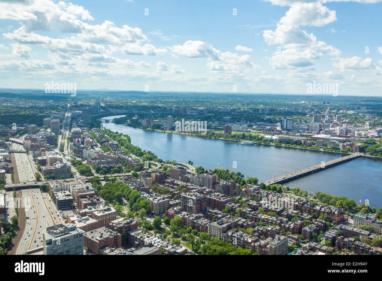 Vista aérea del horizonte de Boston, Massachusetts, EE.UU. Imagen De Stock