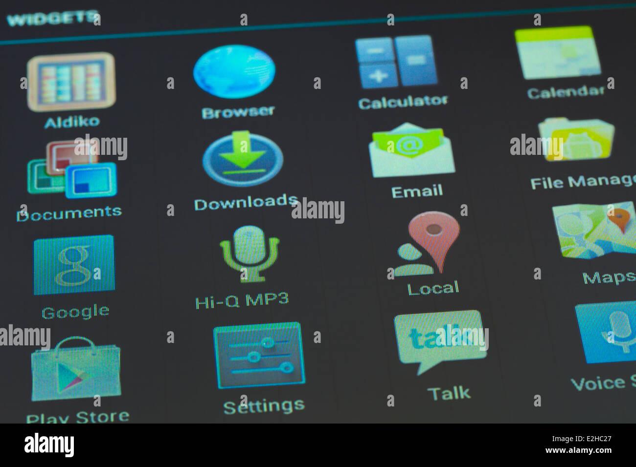 Tablet con iconos Imagen De Stock