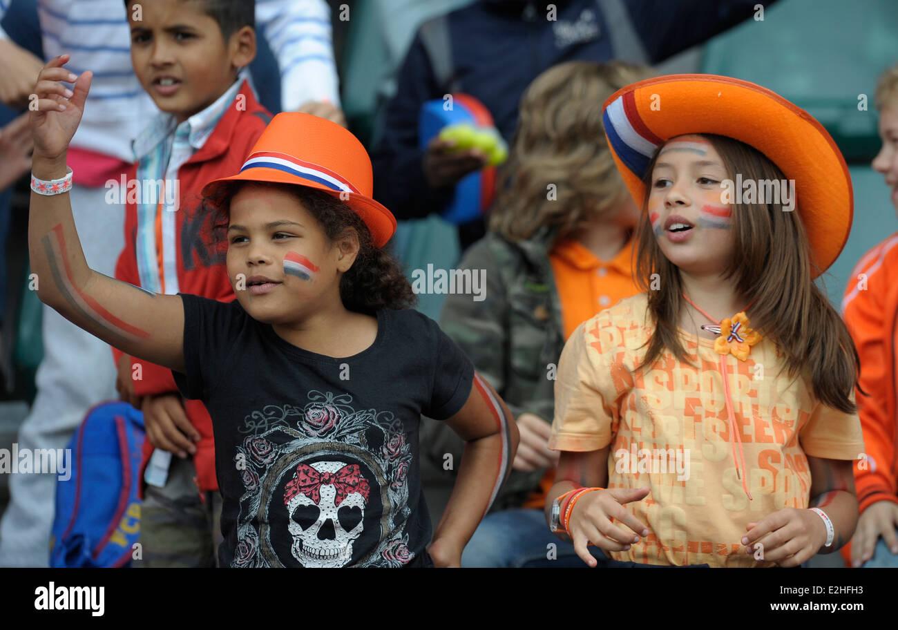 Los aficionados a los deportes holandés en teh Rabobank, la Copa del Mundo de Hockey Hauge, junio de 2014 Imagen De Stock
