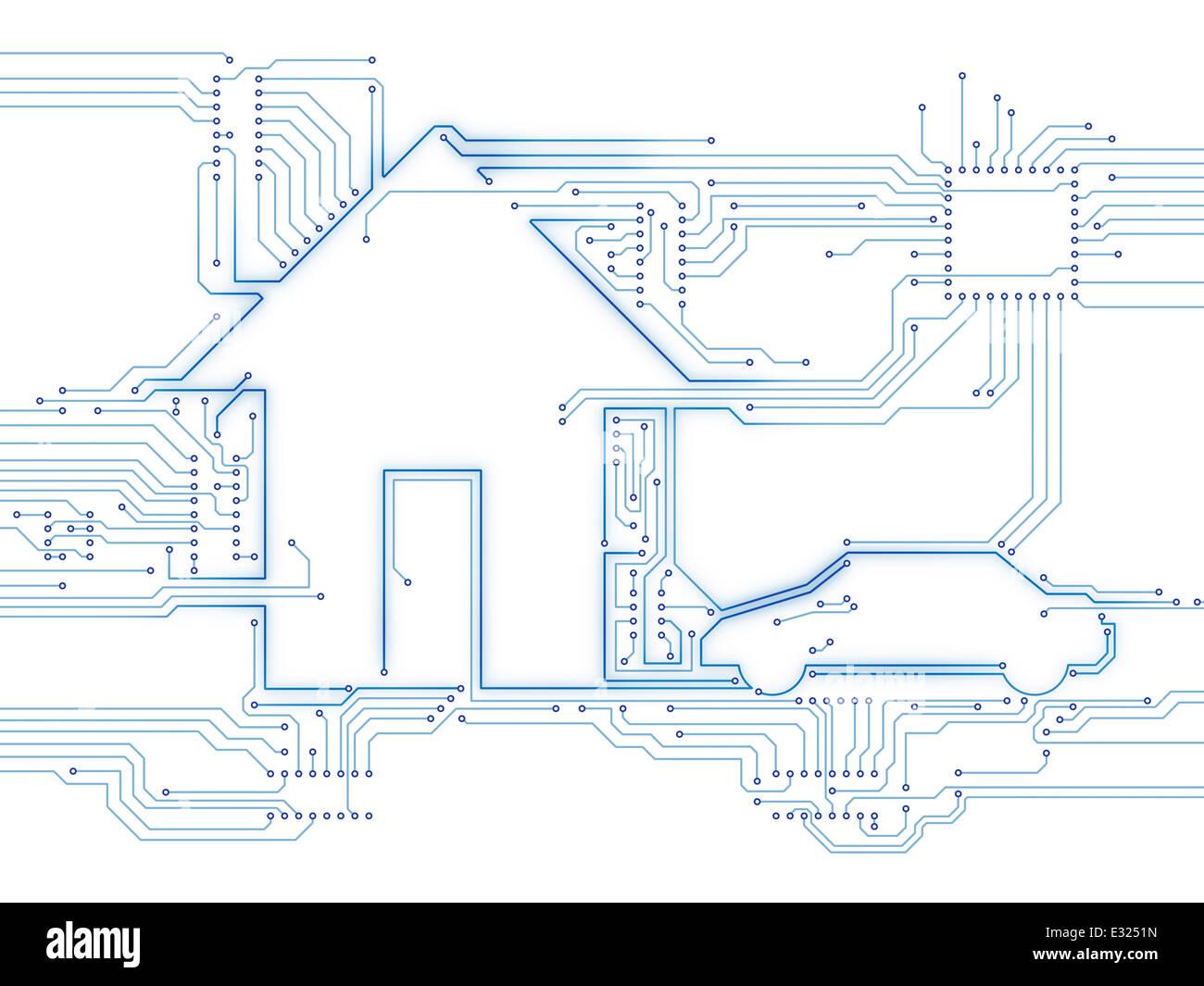 Casa conectado y el coche eléctrico en el futuro la tecnología domótica hogar Ilustración conceptual Imagen De Stock