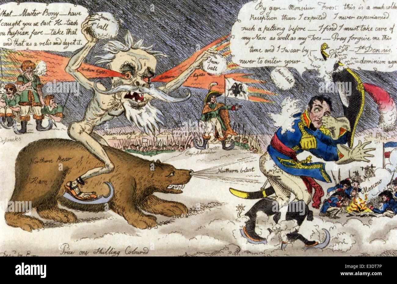 La helada de gato atacando BONEY EN RUSIA cartoon pintado a mano por William Olmos, un contemporáneo de Gillray. Foto de stock