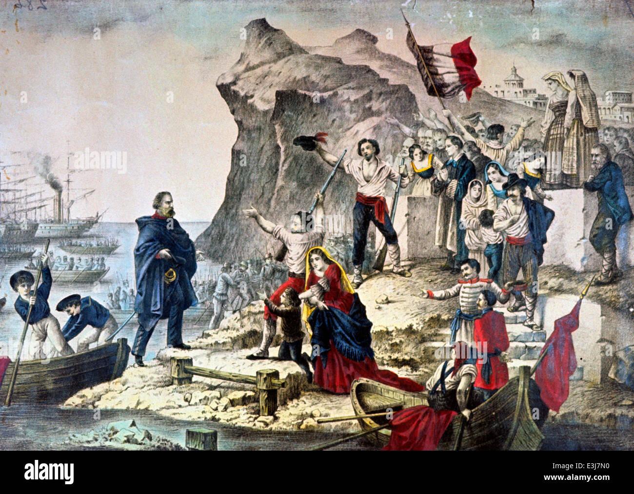 Giuseppe Garibaldi en Sicilia, expedición de los Mil 1860 Foto de stock