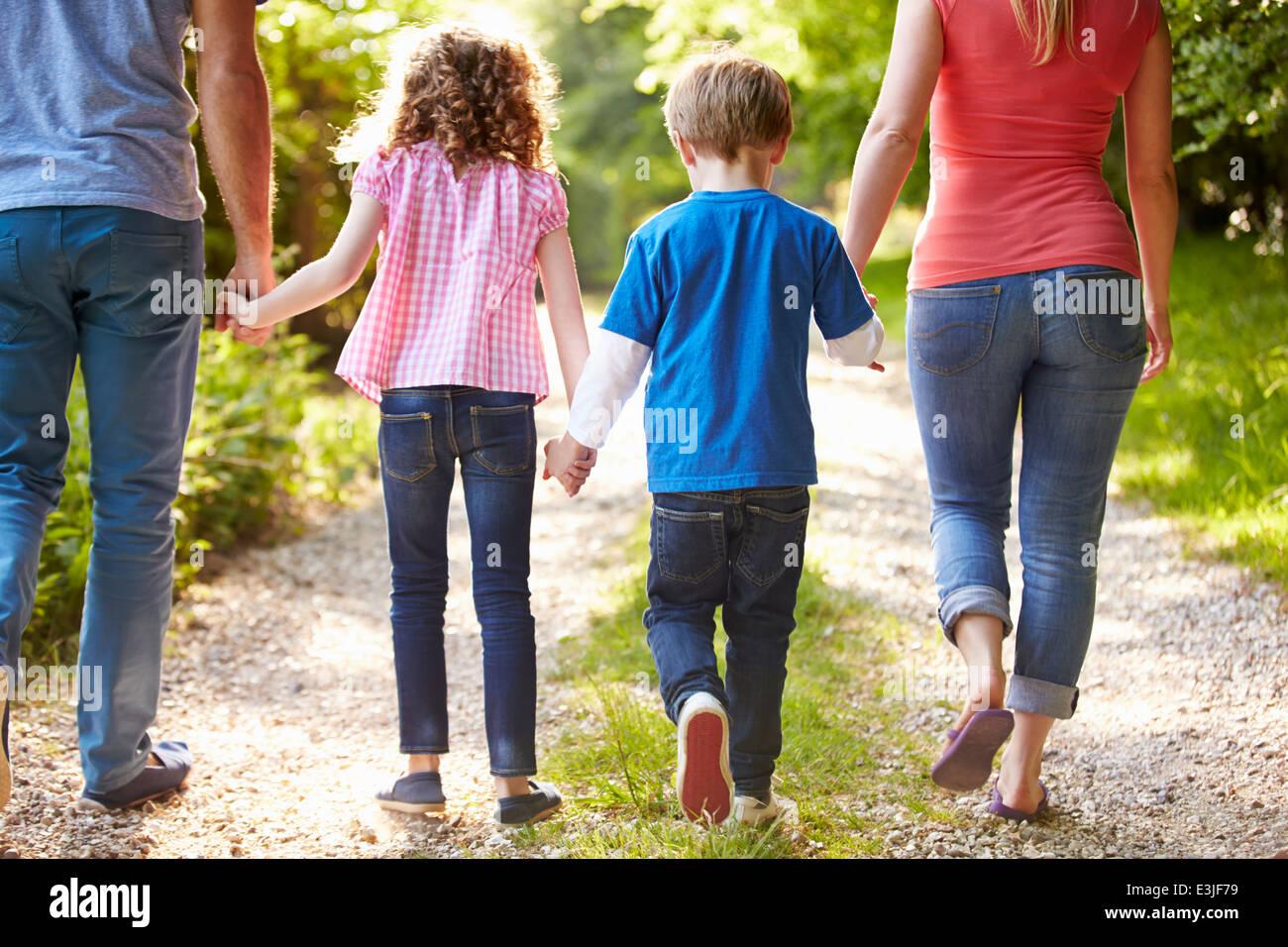 Vista trasera de la familia caminando en campo Imagen De Stock