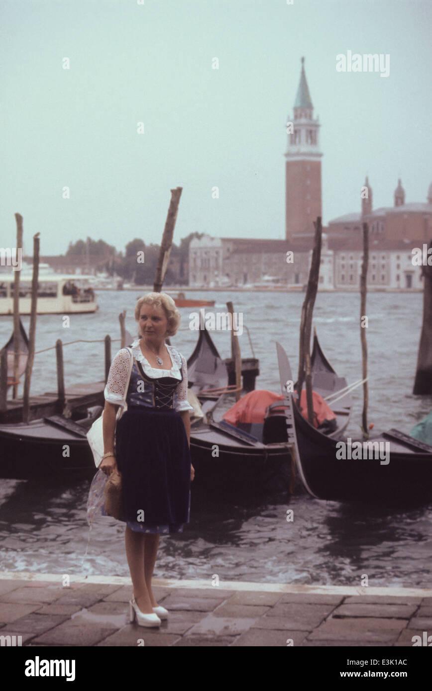 Turista en Venecia,Italia,70's Foto de stock