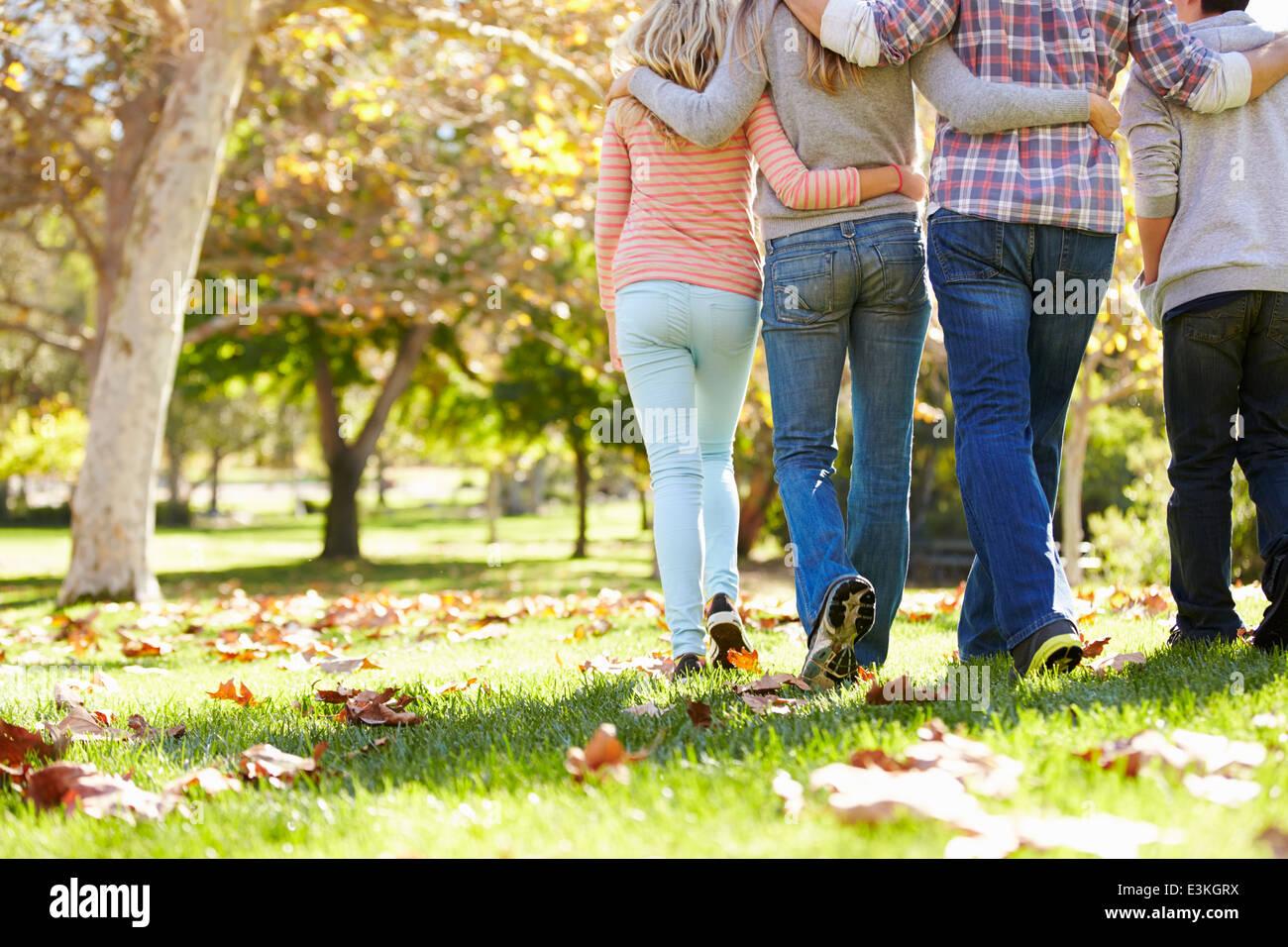 Vista trasera de la familia caminando a través del bosque de Otoño Foto de stock