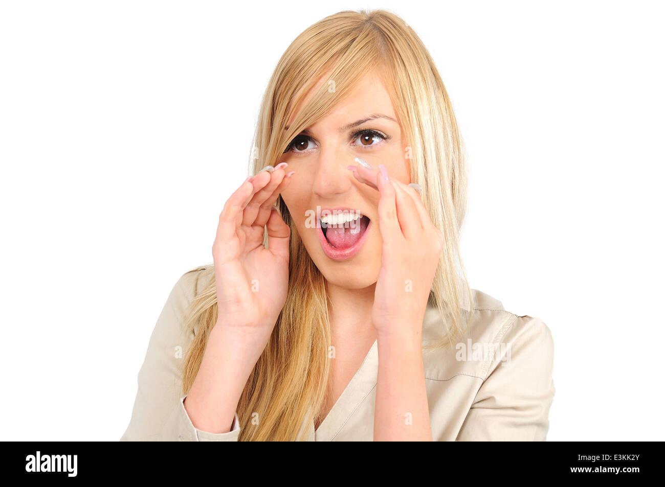Mujer de negocios jóvenes aislados anunciar Imagen De Stock