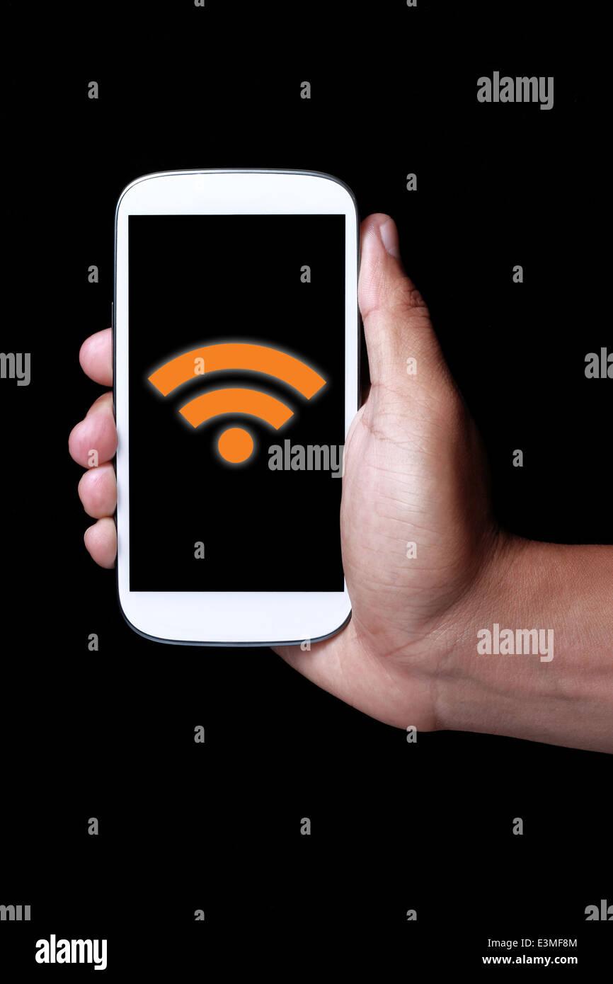 Mostrar el icono de wifi en smartphone Imagen De Stock