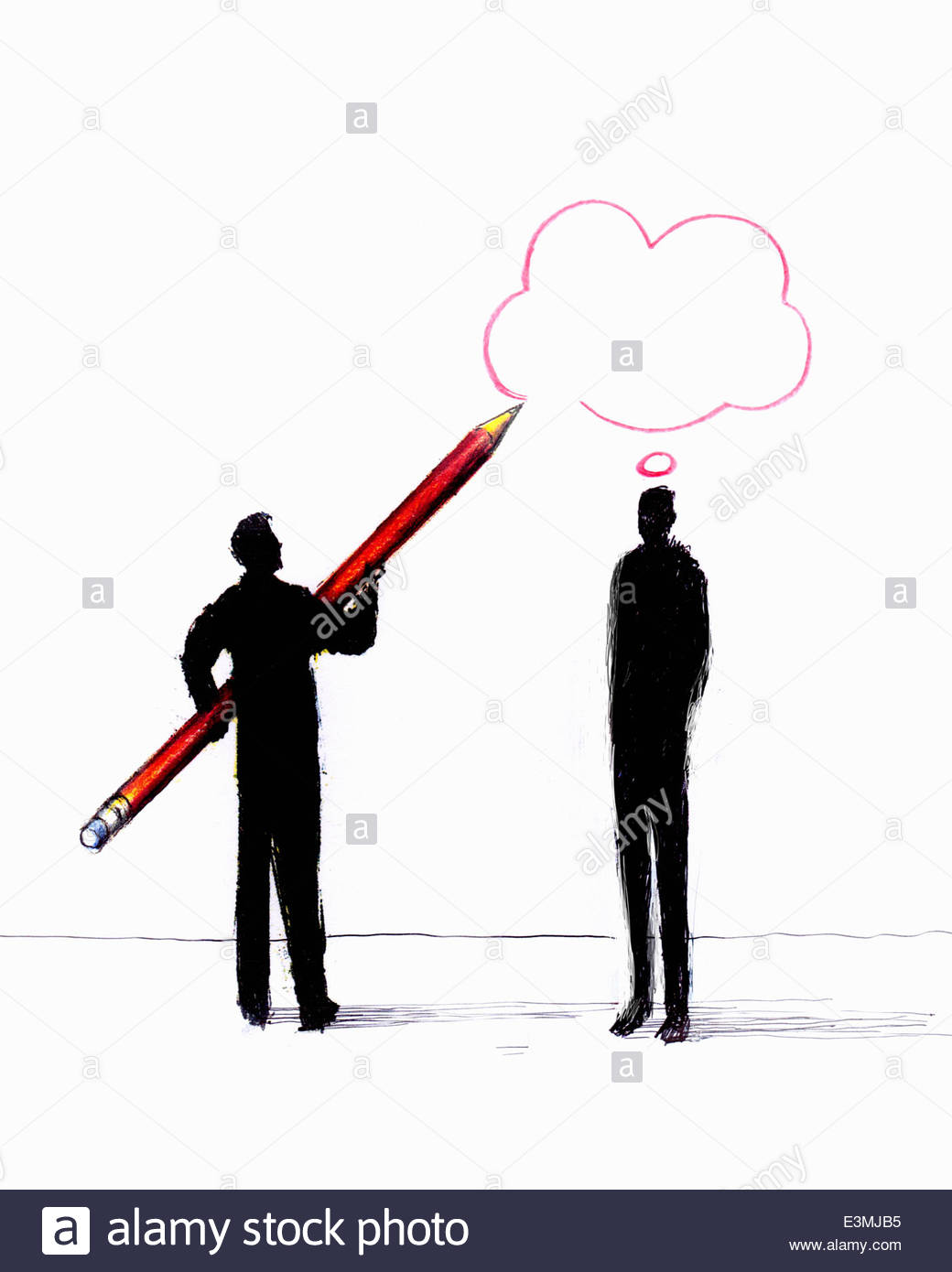 Empresario pensamiento dibujo burbuja sobre el hombre Imagen De Stock