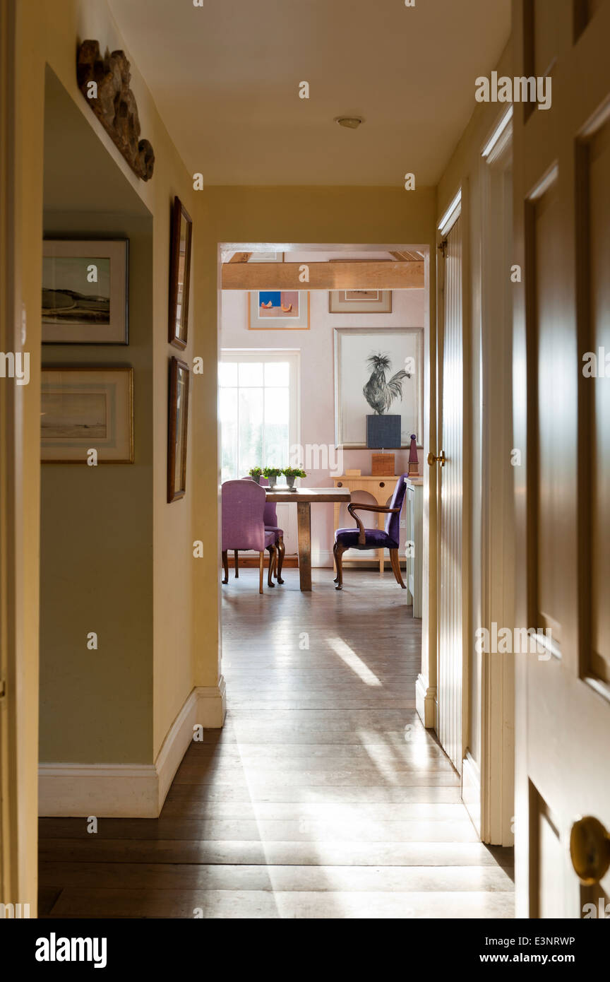 Ver por el pasillo al comedor con gallo pintado por Michelle Pearson Cooper Foto de stock