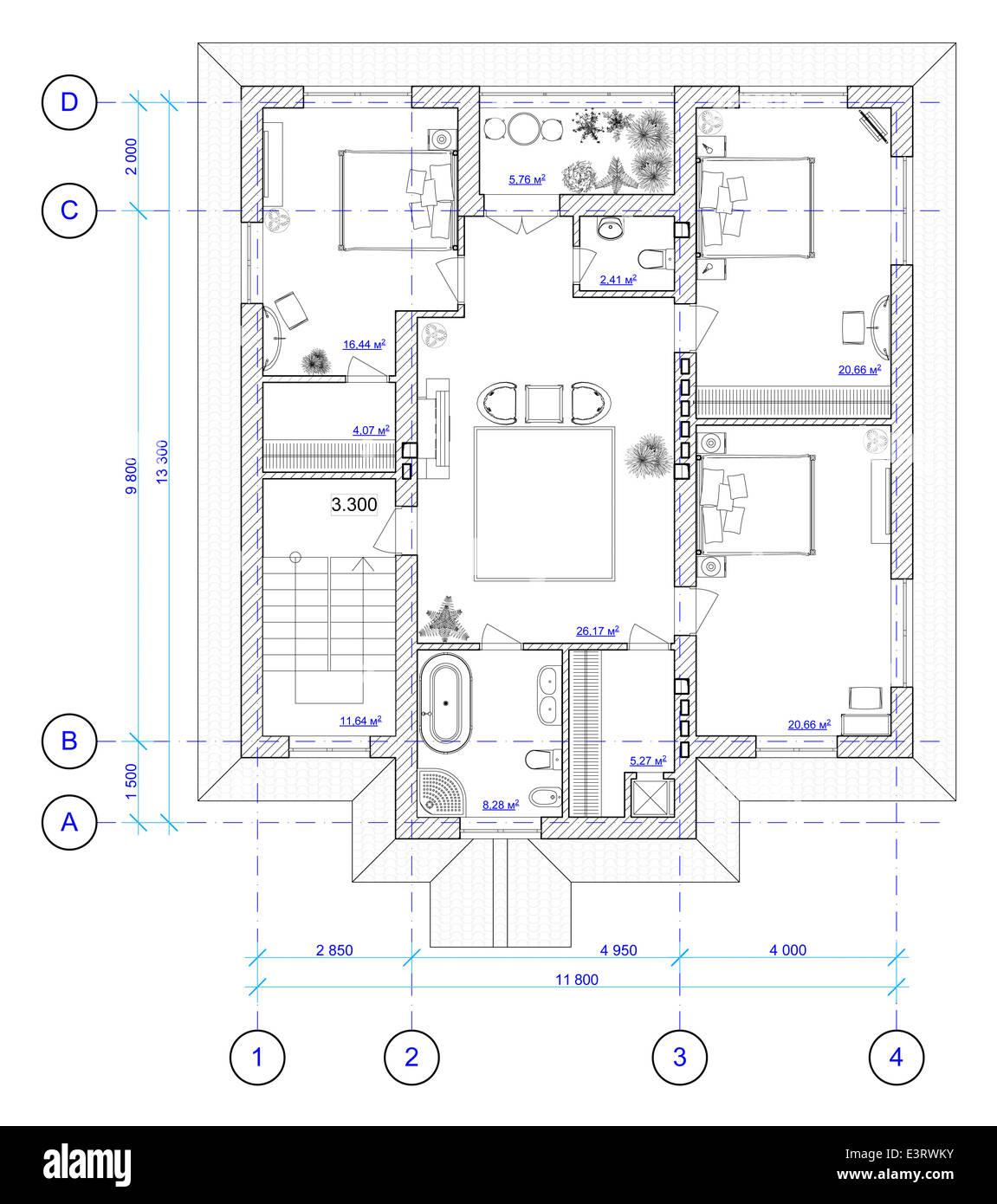 Build house draw blueprint imgenes de stock build house draw esquema arquitectnico del segundo piso de la casa imagen de stock malvernweather Image collections