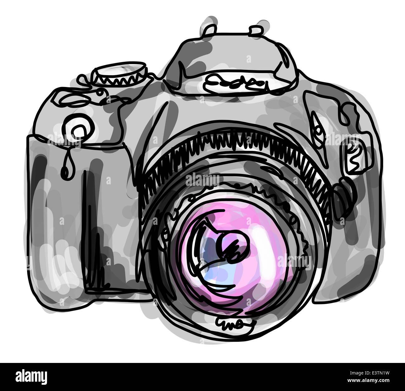 Dibujo De Línea Continua De Una Cámara Fotografía De Stock Alamy